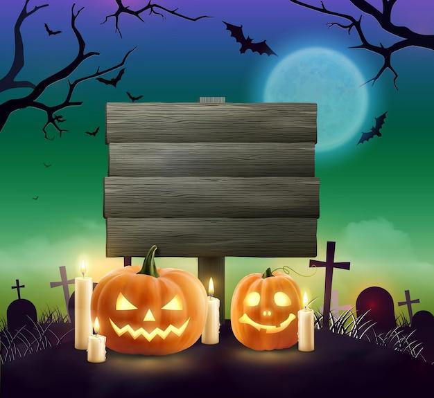 Gruselige realistische halloween-holzfahne mit textfeld zwei kürbislaternenkürbissen und brennenden kerzen auf dem friedhof