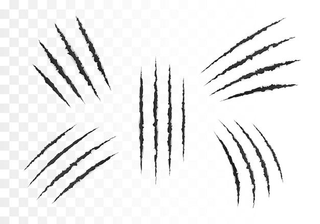 Gruselige schnittpapieroberfläche. satz kratzer des wilden tierkrallen. papierrand zerrissen. vektorillustration lokalisiert auf transparentem hintergrund