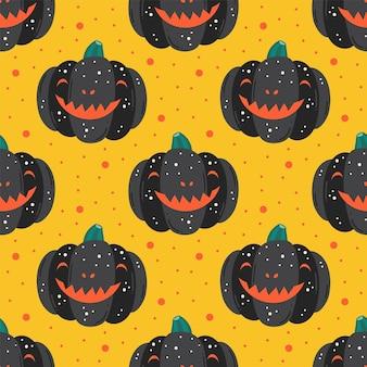 Gruselige schwarze kürbisse. nahtloses muster des glücklichen halloween