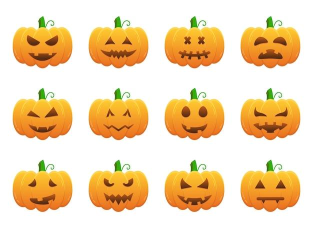 Gruselige und lustige gesichter für halloween-kürbis-illustration