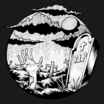 Gruselige untote hand zeigen sich auf furchtsamem friedhof, hand gezeichnete illustration