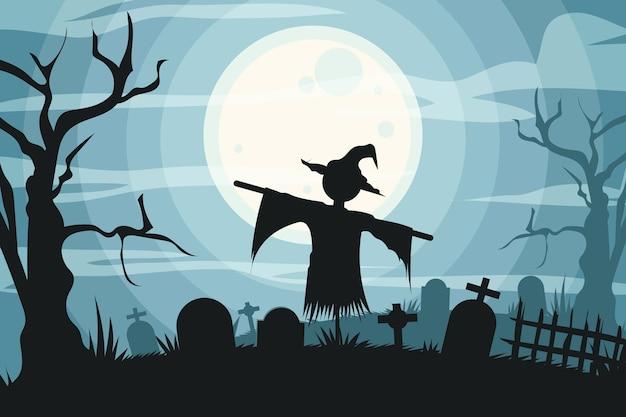 Gruselige vogelscheuche des halloween-hintergrunds