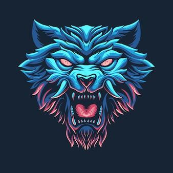 Gruselige werwolfkopf-illustration