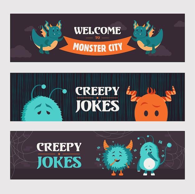 Gruselige witze banner designs für party. nette monster und kreaturen auf dunklem hintergrund. halloween und feiertagskonzept. vorlage für poster, promotion oder webdesign