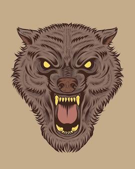 Gruselige wolfsillustration