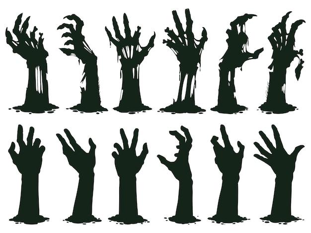 Gruselige zombiehände silhouette krumme lämmer ragen aus dem friedhofsboden-vektorillustrationssatz heraus