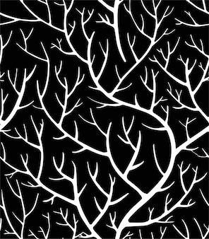 Gruselige zweige und äste des baumes, silhouettierte wälder des nahtlosen musters