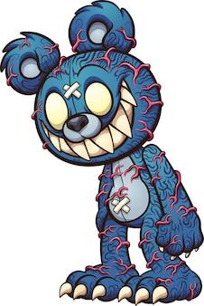 Gruseliger blauer teddybär mit hervortretenden roten adern