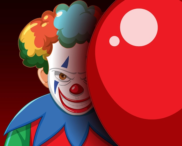 Gruseliger clown, der mit rotem ballon lächelt