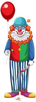 Gruseliger clown mit ballon auf weißem hintergrund