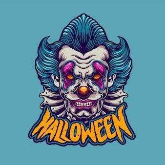 Gruseliger clown mit halloween-charakter