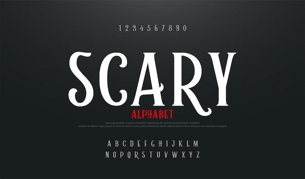 Gruseliger film-alphabet-zeichensatz