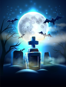 Gruseliger friedhof halloween-hintergrund mit realistischen gräbern, unheimliche fledermaus auf vollmondhintergrund. horrorfriedhof im mondlicht.