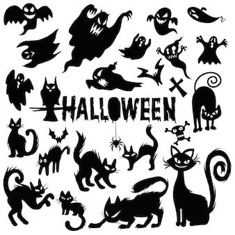 Gruseliger halloween-geist und schwarze katzenschattenbilder, illustrationsschablone. vektordesign