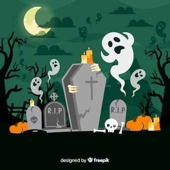 Gruseliger halloween-hintergrund mit flachem design