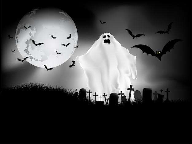 Gruseliger halloween-hintergrund mit geist auf dem friedhof