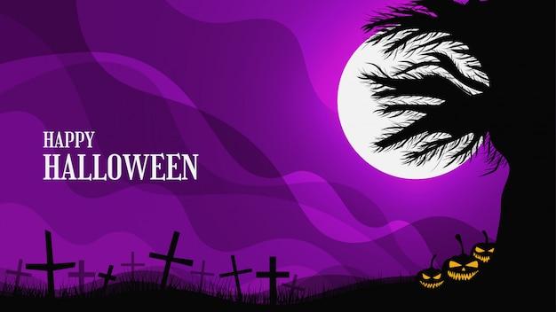 Gruseliger halloween-hintergrund mit gruseligem baum, grabstein und lächelnden kürbissen