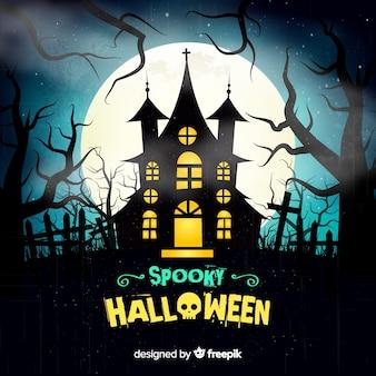 Gruseliger halloween-hintergrund mit realistischem design