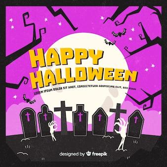 Gruseliger halloween-hintergrund mit schmutzart