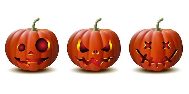 Gruseliger halloween-kürbis von jack o lantern mit kerzenlicht im inneren