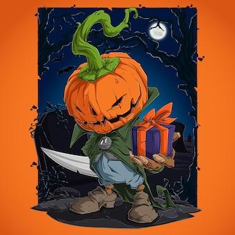Gruseliger halloween-kürbischarakter mit ernstem gesicht, das geschenk hält und sein messer versteckt