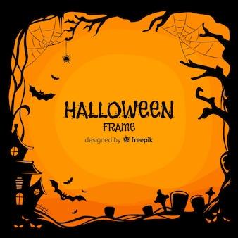 Gruseliger halloween-rahmen mit flachem design