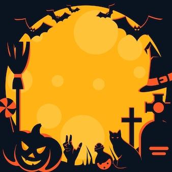 Gruseliger halloween-rahmen mit traditionellen charakteren