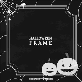 Gruseliger halloween-rahmen mit weinleseart