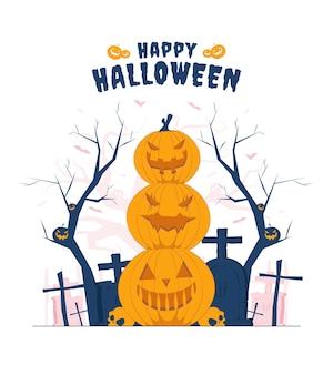 Gruseliger kürbis mit unterschiedlichem ausdruck auf halloween-konzeptillustration