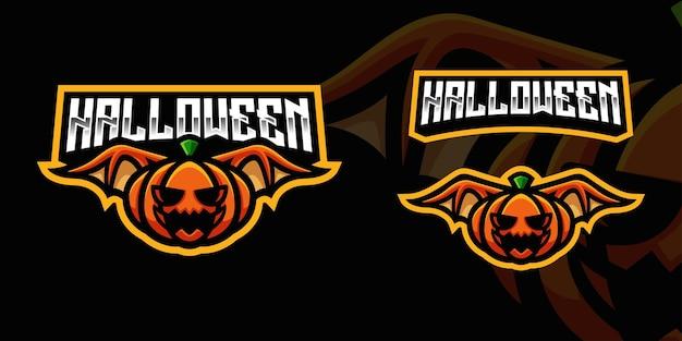 Gruseliger kürbis mit wing gaming maskottchen logo vorlage für esports streamer facebook youtube