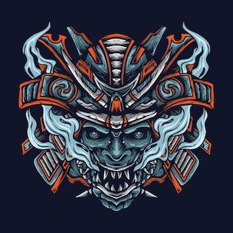 Gruseliger mechanischer samurai-dämon mit wütendem gesicht premium-vektor