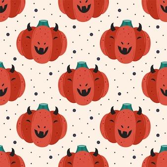Gruseliger roter teufelskürbis. nahtloses muster des glücklichen halloween