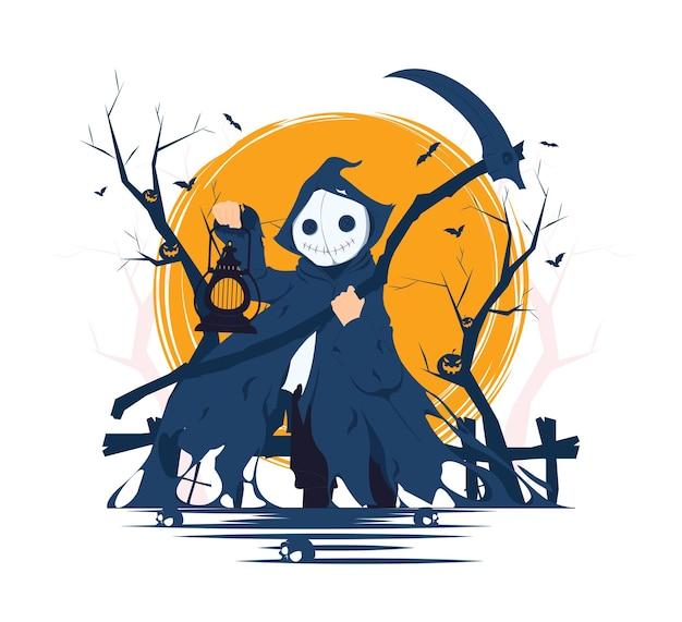 Gruseliger todesengel, der sense und laterne auf halloween-konzeptillustration hält