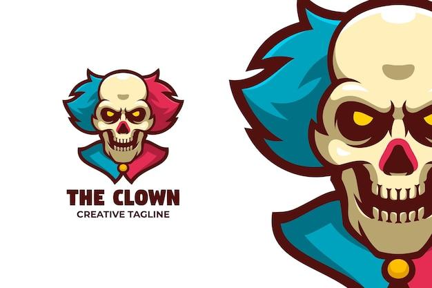 Gruseliger totenkopf-clown-maskottchen-logo-charakter
