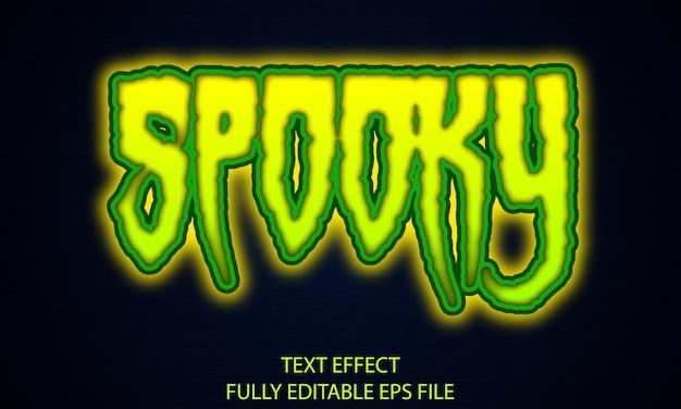 Gruseliger, vollständig bearbeitbarer neon-texteffekt