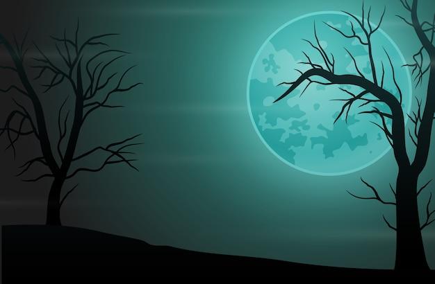 Gruseliger waldnachthintergrund mit vollmond