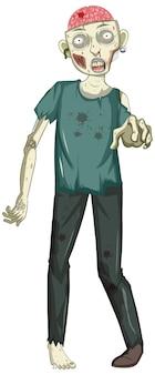 Gruseliger zombie-charakter auf weißem hintergrund