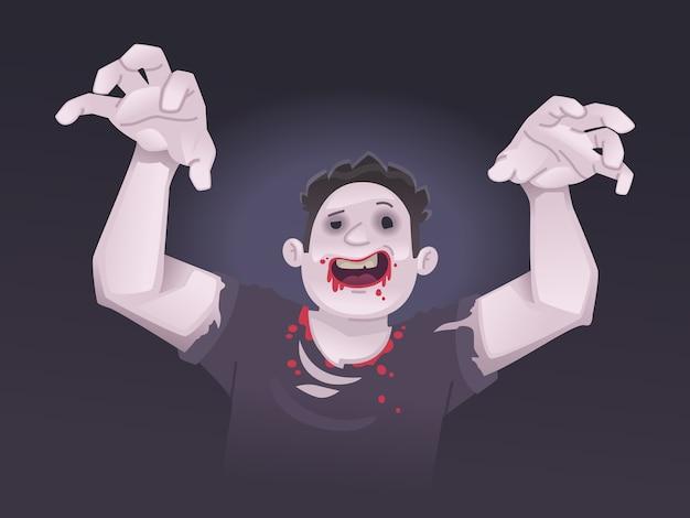 Gruseliger zombie. halloween-outfit. illustration im flachen stil.