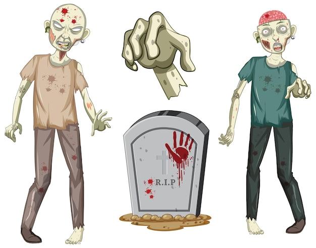Gruseliger zombiecharakter und grabstein auf weißem hintergrund