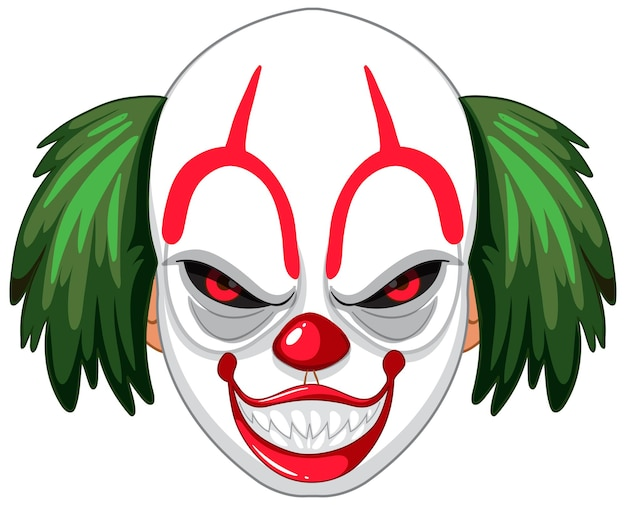 Gruseliges clowngesicht auf weißem hintergrund