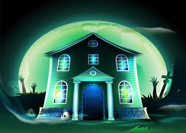 Gruseliges halloween-haus des realistischen entwurfs