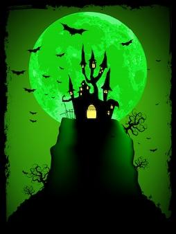 Gruseliges halloween mit magischer abtei. vektordatei enthalten