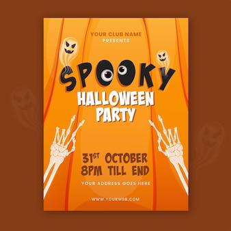 Gruseliges halloween-party-flyer-design mit skeletthänden, geist und ereignisdetails in orange farbe.