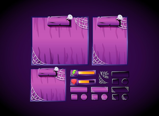 Gruseliges halloween-spiel-ui-kit-sammlungsset-vorlagenbrett, popup-leiste und schaltflächenschnittstelle