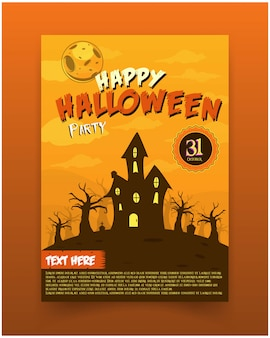 Gruseliges haus der flyer-halloween-party einladungs-illustration