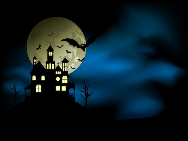 Gruseliges haus mit unheimlichem nachthimmel und fledermäusen