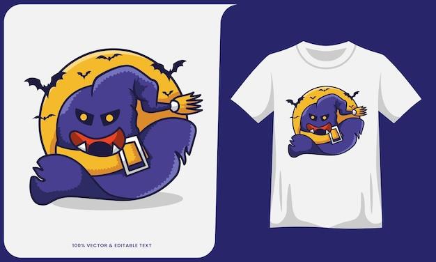 Gruseliges hexenhut-cartoon- und t-shirt-design