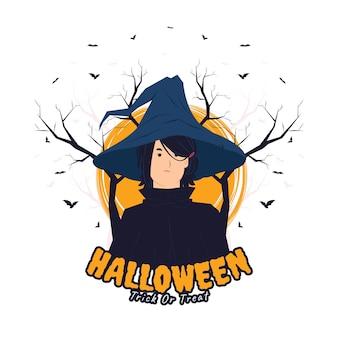 Gruseliges hexenmädchen mit schwarzem mantel und wütendem ausdruck auf halloween-konzeptillustration