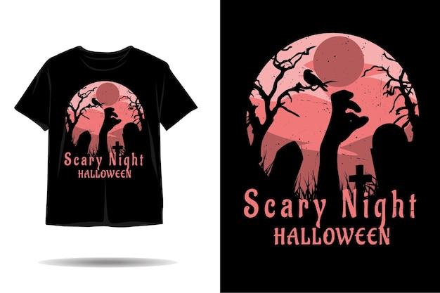 Gruseliges nachthalloween-silhouette-t-shirt-design