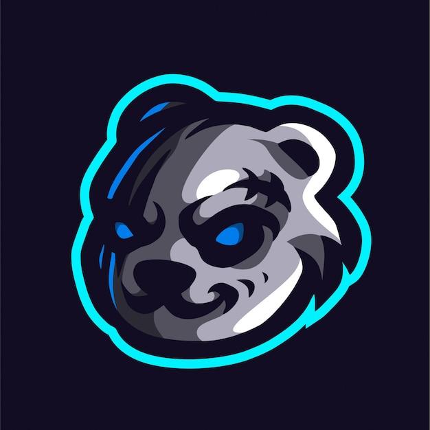 Gruseliges panda-e-sport-logo